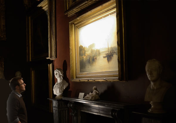 hogarth picture lights lighting petworth house mr.turner exhibition view of 2 canvases